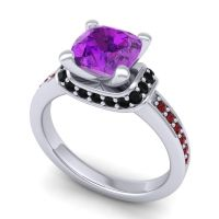 Halo Cushion Aksika Amethyst Ring with Black Onyx and Garnet in 14k White Gold