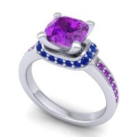 Halo Cushion Aksika Amethyst Ring with Blue Sapphire in 14k White Gold