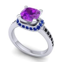 Halo Cushion Aksika Amethyst Ring with Blue Sapphire and Black Onyx in 18k White Gold