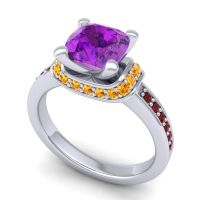 Halo Cushion Aksika Amethyst Ring with Citrine and Garnet in 14k White Gold