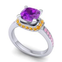 Halo Cushion Aksika Amethyst Ring with Citrine and Pink Tourmaline in 14k White Gold