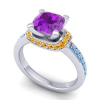 Halo Cushion Aksika Amethyst Ring with Citrine and Swiss Blue Topaz in Palladium