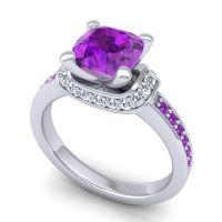 Halo Cushion Aksika Amethyst Ring with Diamond in Palladium