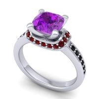 Halo Cushion Aksika Amethyst Ring with Garnet and Black Onyx in 14k White Gold