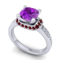 Halo Cushion Aksika Amethyst Ring with Garnet and Diamond in 14k White Gold