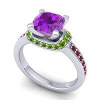 Halo Cushion Aksika Amethyst Ring with Peridot and Garnet in Platinum