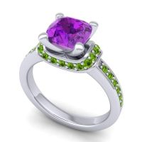 Halo Cushion Aksika Amethyst Ring with Peridot in 14k White Gold