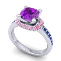 Halo Cushion Aksika Amethyst Ring with Pink Tourmaline and Blue Sapphire in Platinum