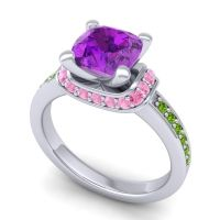 Halo Cushion Aksika Amethyst Ring with Pink Tourmaline and Peridot in 18k White Gold