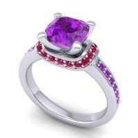 Halo Cushion Aksika Amethyst Ring with Ruby in Palladium