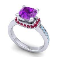 Halo Cushion Aksika Amethyst Ring with Ruby and Aquamarine in Palladium