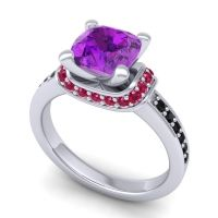 Halo Cushion Aksika Amethyst Ring with Ruby and Black Onyx in 14k White Gold