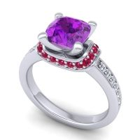 Halo Cushion Aksika Amethyst Ring with Ruby and Diamond in Platinum