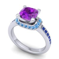 Halo Cushion Aksika Amethyst Ring with Swiss Blue Topaz and Blue Sapphire in Platinum