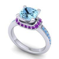 Halo Cushion Aksika Aquamarine Ring with Amethyst and Swiss Blue Topaz in Platinum