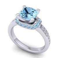 Halo Cushion Aksika Aquamarine Ring with Diamond in Platinum