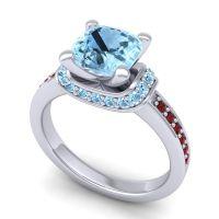 Halo Cushion Aksika Aquamarine Ring with Garnet in 18k White Gold