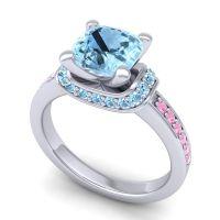 Halo Cushion Aksika Aquamarine Ring with Pink Tourmaline in 14k White Gold