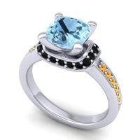 Halo Cushion Aksika Aquamarine Ring with Black Onyx and Citrine in Platinum