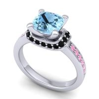 Halo Cushion Aksika Aquamarine Ring with Black Onyx and Pink Tourmaline in Palladium