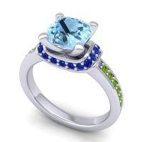 Halo Cushion Aksika Aquamarine Ring with Blue Sapphire and Peridot in Platinum