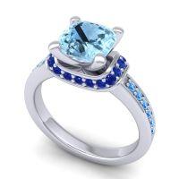 Halo Cushion Aksika Aquamarine Ring with Blue Sapphire and Swiss Blue Topaz in Palladium