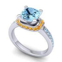 Halo Cushion Aksika Aquamarine Ring with Citrine in 14k White Gold