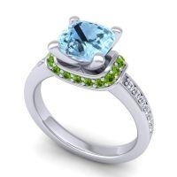 Halo Cushion Aksika Aquamarine Ring with Peridot and Diamond in Palladium