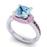 Halo Cushion Aksika Aquamarine Ring with Pink Tourmaline and Garnet in Platinum