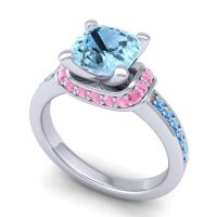 Halo Cushion Aksika Aquamarine Ring with Pink Tourmaline and Swiss Blue Topaz in 18k White Gold