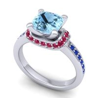 Halo Cushion Aksika Aquamarine Ring with Ruby and Blue Sapphire in 14k White Gold