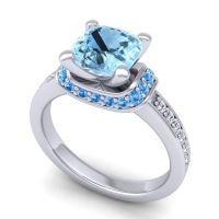 Halo Cushion Aksika Aquamarine Ring with Swiss Blue Topaz and Diamond in 14k White Gold