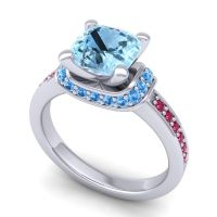 Halo Cushion Aksika Aquamarine Ring with Swiss Blue Topaz and Ruby in 18k White Gold