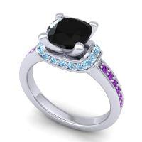 Halo Cushion Aksika Black Onyx Ring with Aquamarine and Amethyst in Palladium