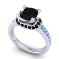 Halo Cushion Aksika Black Onyx Ring with Swiss Blue Topaz in 14k White Gold