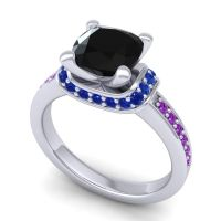 Halo Cushion Aksika Black Onyx Ring with Blue Sapphire and Amethyst in Palladium