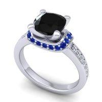 Halo Cushion Aksika Black Onyx Ring with Blue Sapphire and Diamond in Palladium