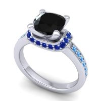 Halo Cushion Aksika Black Onyx Ring with Blue Sapphire and Swiss Blue Topaz in Palladium