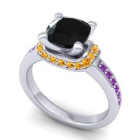 Halo Cushion Aksika Black Onyx Ring with Citrine and Amethyst in 18k White Gold
