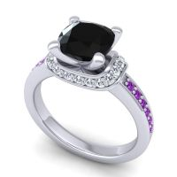 Halo Cushion Aksika Black Onyx Ring with Diamond and Amethyst in 18k White Gold
