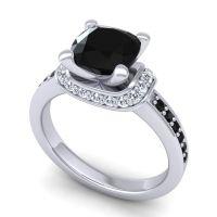 Halo Cushion Aksika Black Onyx Ring with Diamond in 14k White Gold