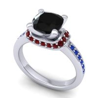 Halo Cushion Aksika Black Onyx Ring with Garnet and Blue Sapphire in 14k White Gold