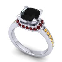 Halo Cushion Aksika Black Onyx Ring with Garnet and Citrine in 18k White Gold