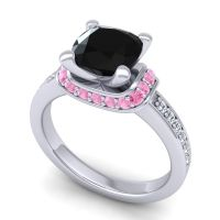 Halo Cushion Aksika Black Onyx Ring with Pink Tourmaline and Diamond in 14k White Gold