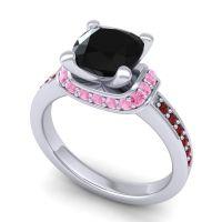 Halo Cushion Aksika Black Onyx Ring with Pink Tourmaline and Garnet in Palladium
