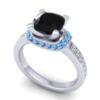 Halo Cushion Aksika Black Onyx Ring with Swiss Blue Topaz and Diamond in Platinum