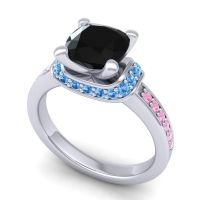 Halo Cushion Aksika Black Onyx Ring with Swiss Blue Topaz and Pink Tourmaline in 14k White Gold