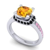 Halo Cushion Aksika Citrine Ring with Black Onyx and Pink Tourmaline in Platinum