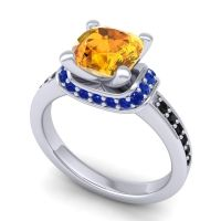 Halo Cushion Aksika Citrine Ring with Blue Sapphire and Black Onyx in 18k White Gold