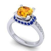 Halo Cushion Aksika Citrine Ring with Blue Sapphire and Diamond in 18k White Gold